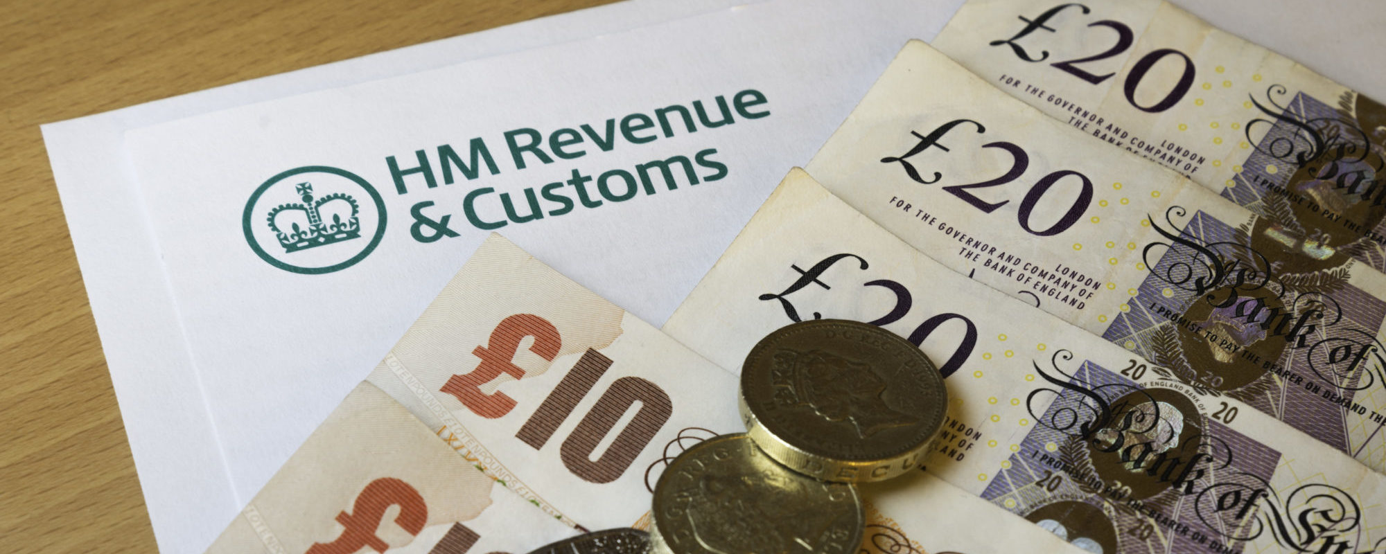 HMRC form with money